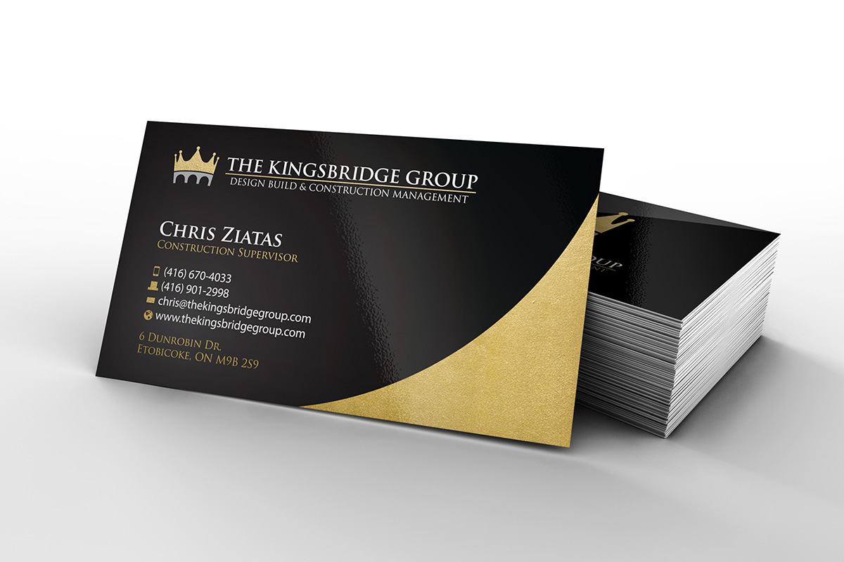 The Kingsbridge Group- business card design, logo design, branding, brand design: construction, gold, design build, logo
